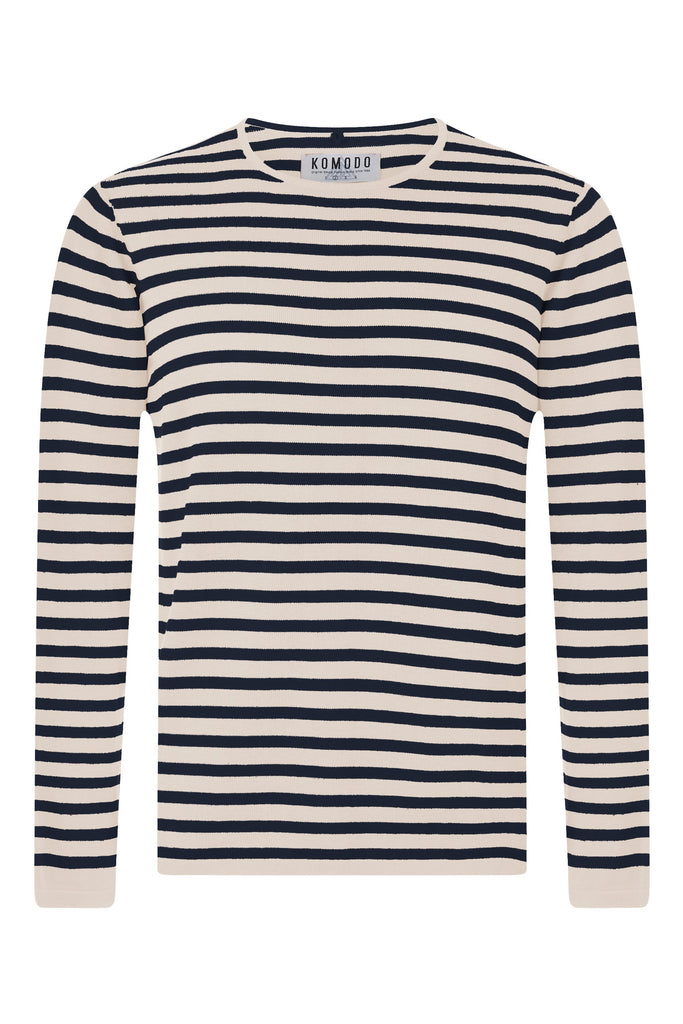 Charlie Organic Cotton Sweater in Ink Stripe Print