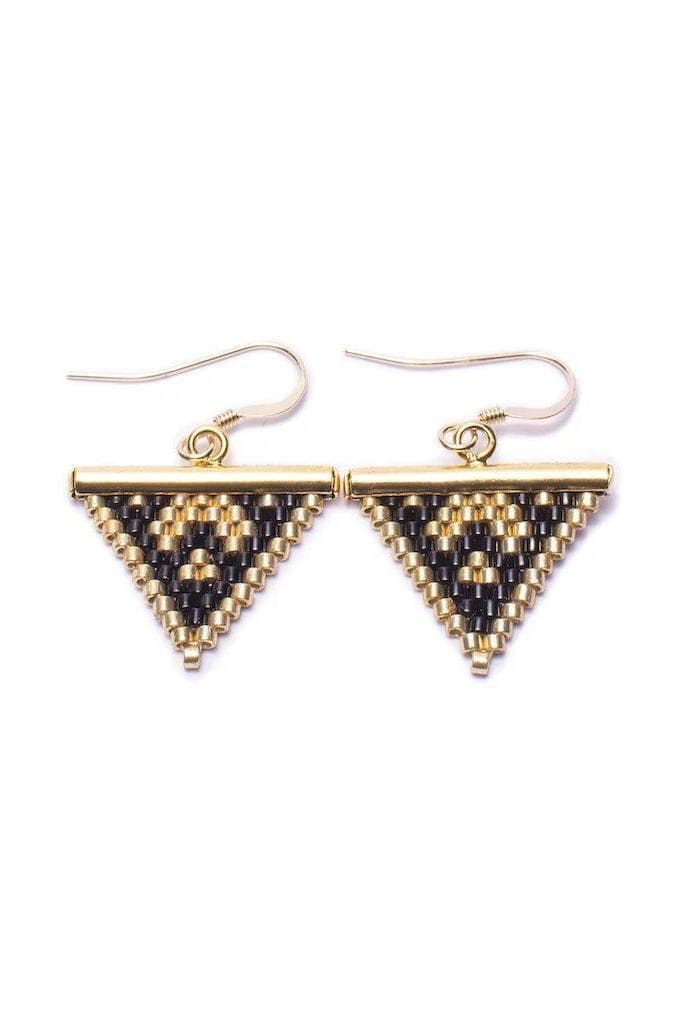 Koru Beaded Recycled Brass Arrow Tip Earrings in Black