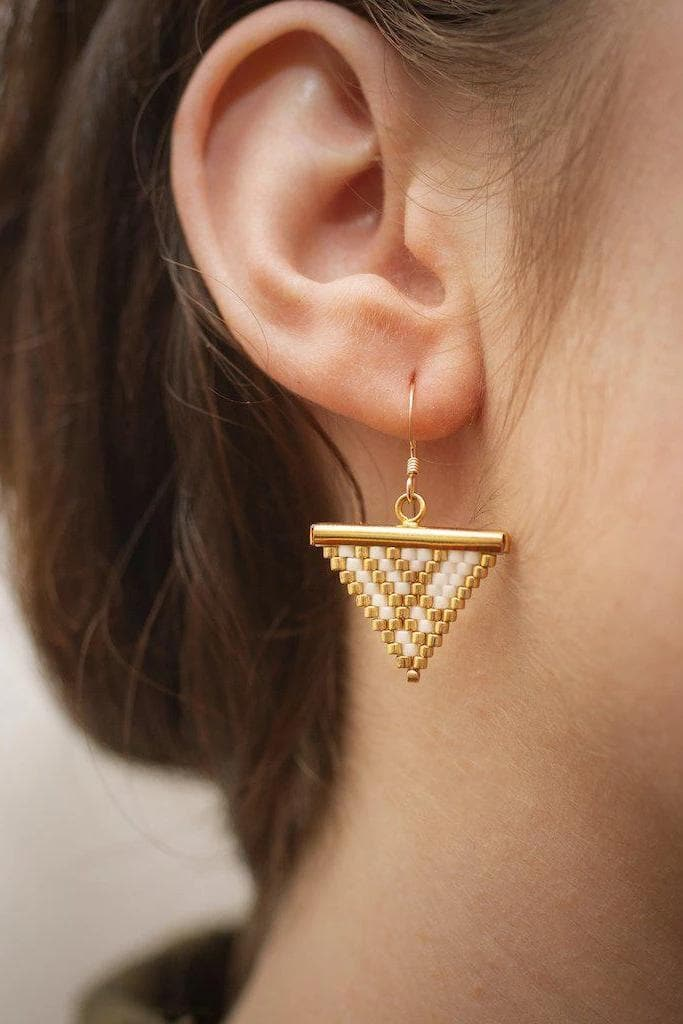 Koru Beaded Recycled Brass Arrow Tip Earrings in White