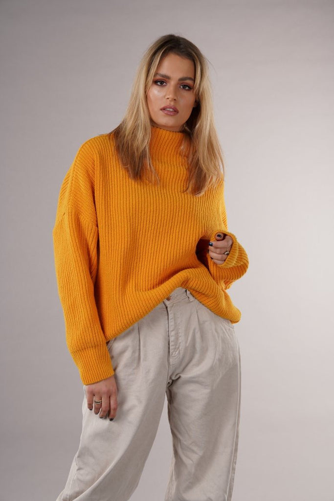 Sustainable Wool Blend Knit Sweater in Orange