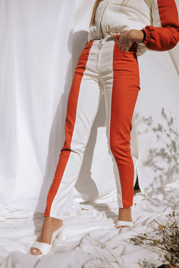 Daintree Organic Cotton Trousers in Orange & White