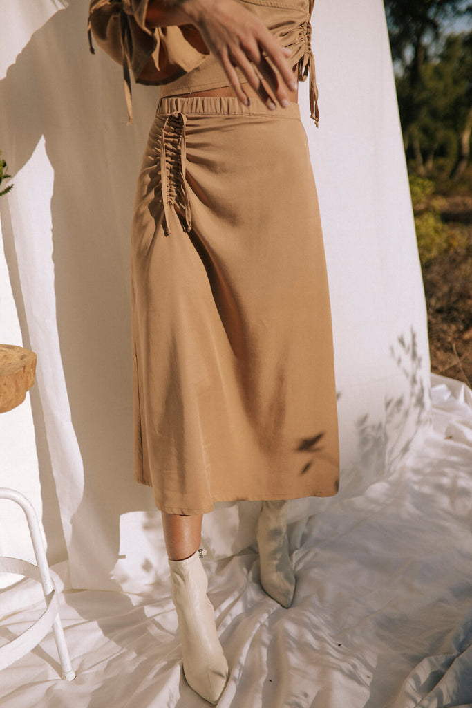Kinabalu Vegan Tencel Skirt in Beige
