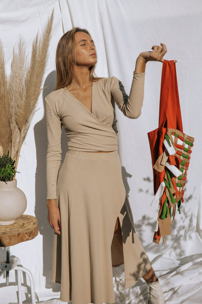 Tongass Organic Cotton Skirt in Beige