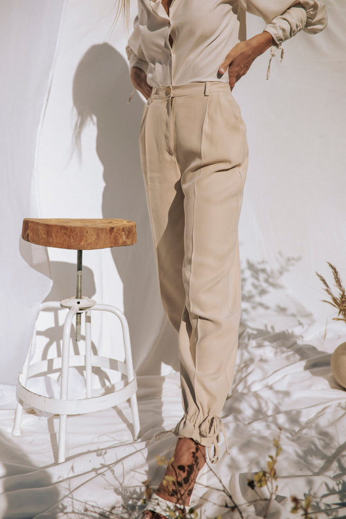 Valdivian Deadstock Viscose Trousers in Beige