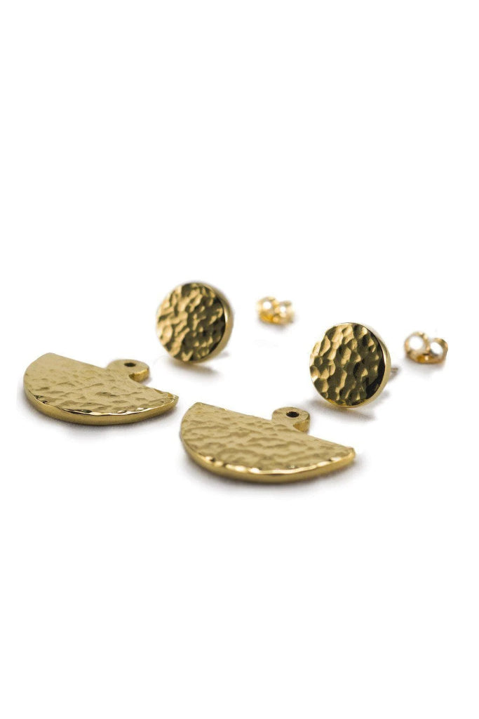 Lela Hammered 3 Way Earrings Yala Jewellery Ethical Brass Modern African 14k Gold Fill