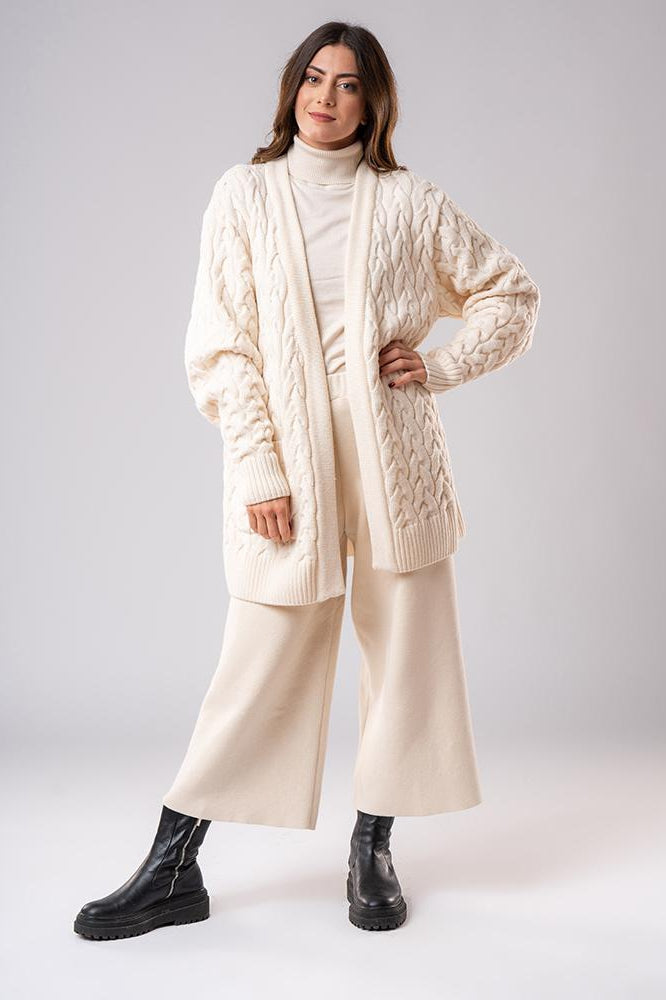 Sustainable Merino Wool Cable Knit Cardigan in White