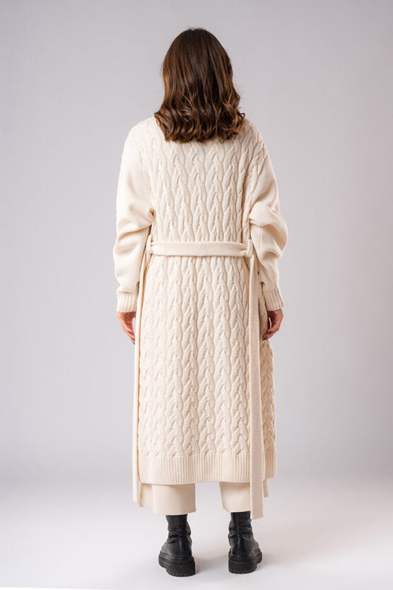 Sustainable Merino Wool Cable Knit Coat in White