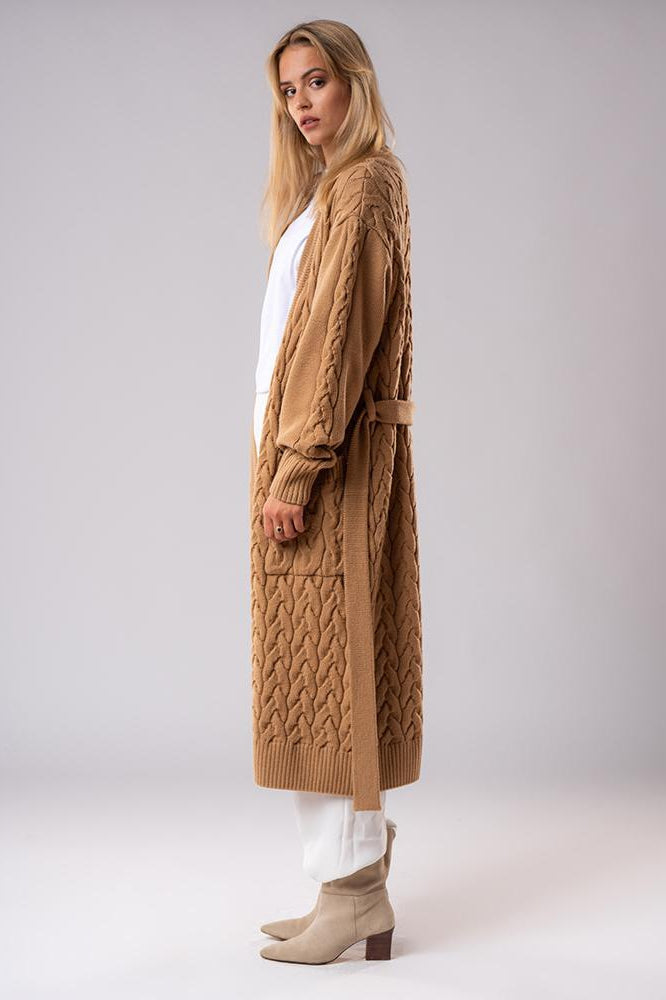 Merino Wool Cable Knit Coat Camel