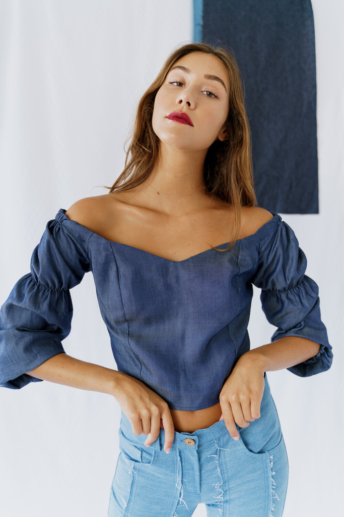 Hispar Vegan Blouse in Denim Blue