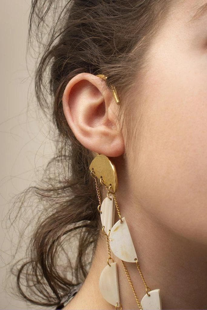 Lwala Recycled Brass and Reclaimed Horn Ear Cuff