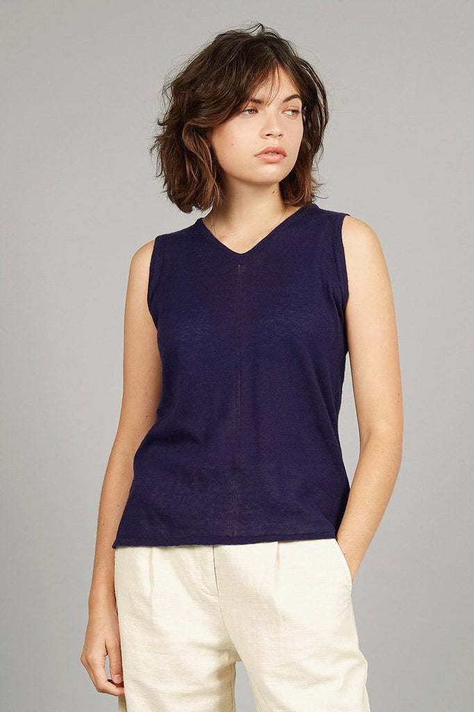 Mala Organic Linen Top in Blue