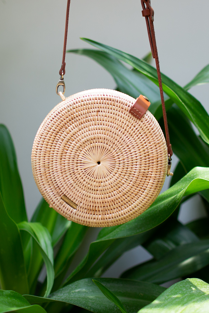Mandala Artisan Rattan Crossbody Bag in Natural, Brown Handel