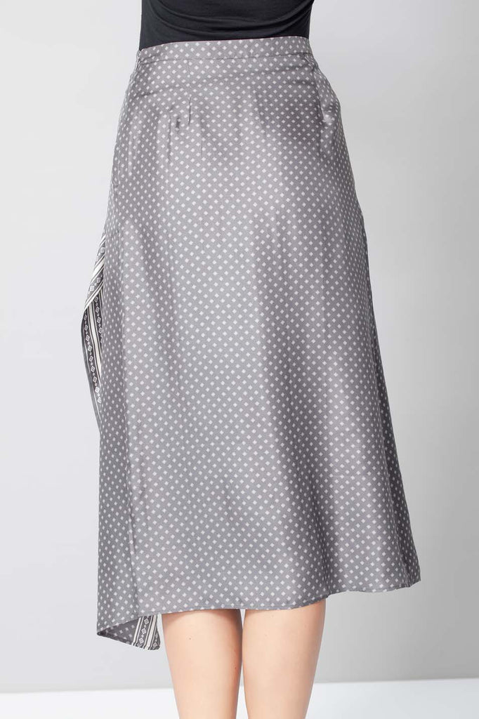 Welland Upcycled Silk Skirt in Gray