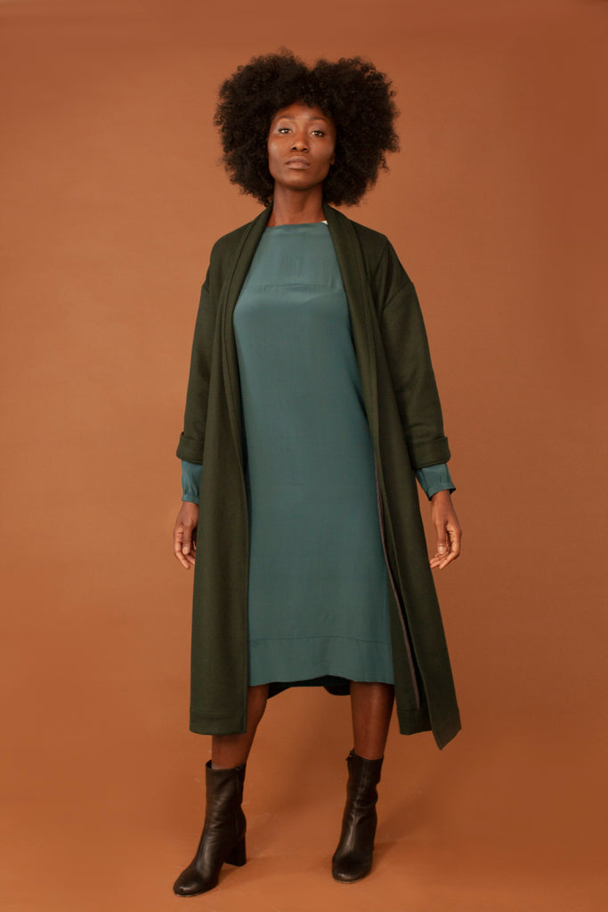 The Misaki Ethical Wool Coat in Green