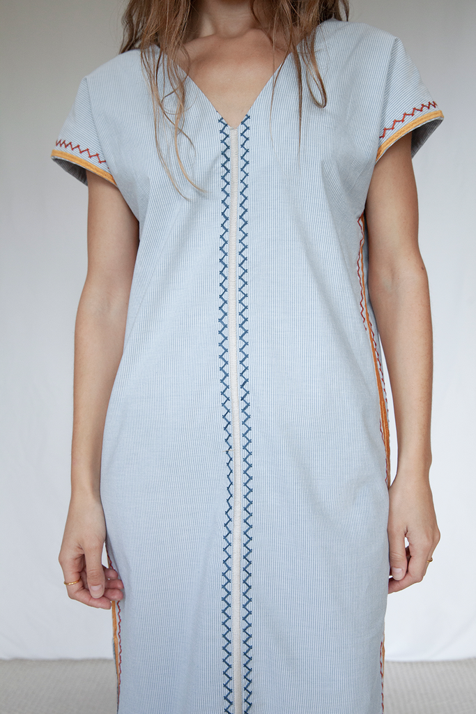 Two Bunch Palms Organic Cotton Dress in Blue