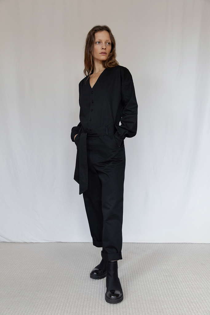 Hoxton Organic Cotton Jumpsuit in Black