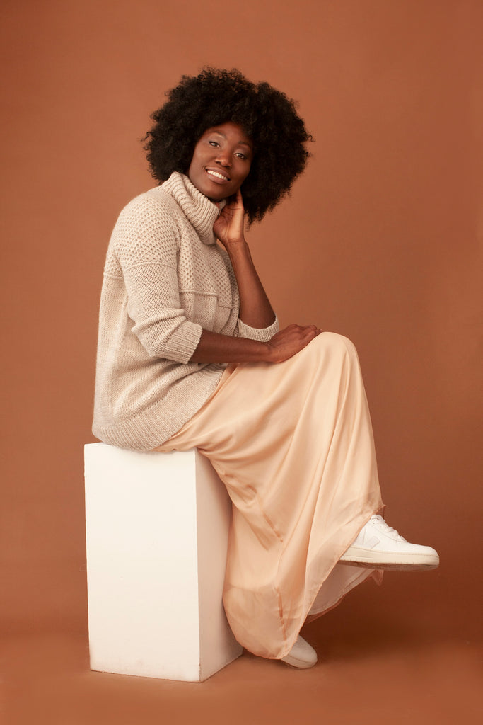 Madison Ethical Wool Sweater in Nude