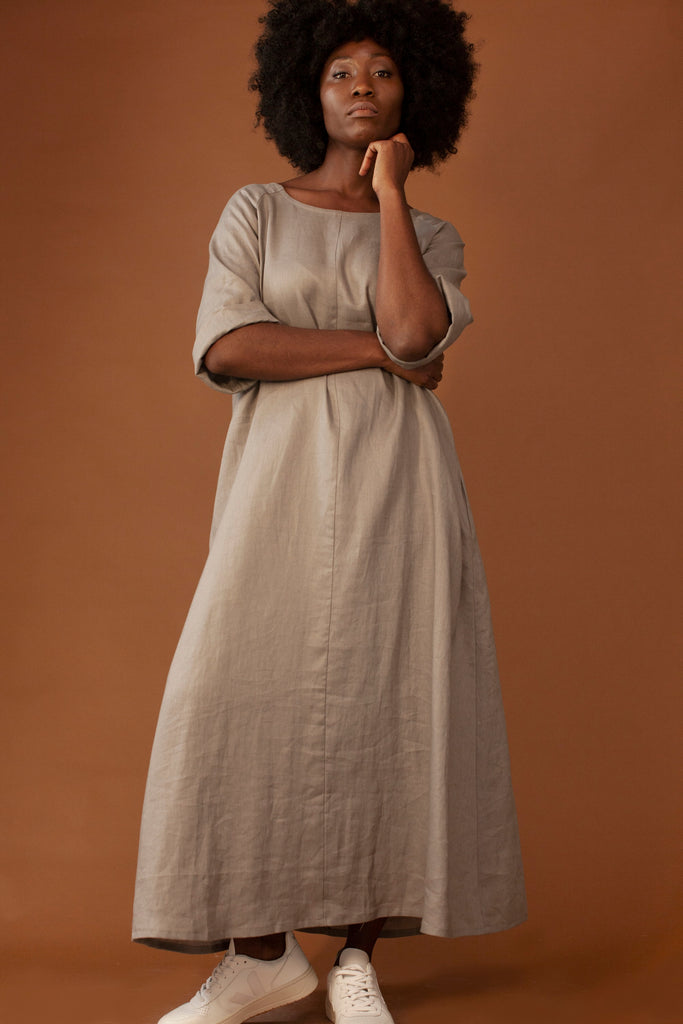 The Tary Vegan Linen Dress in Nude