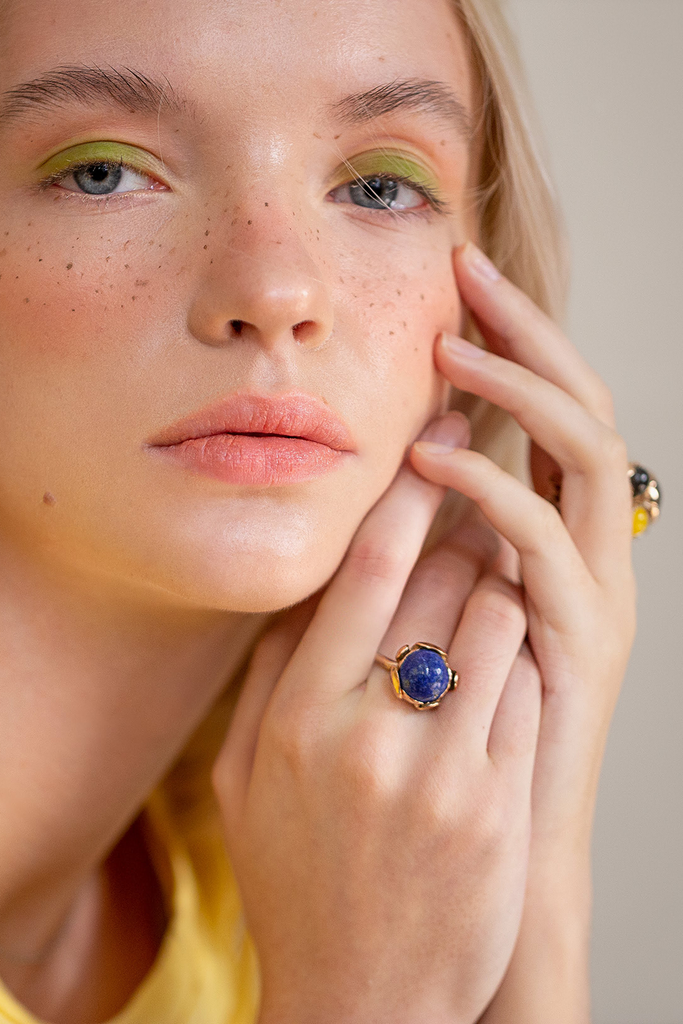 Blossom Recycled Rose Gold Plated Silver Ring - Lapis Lazuli