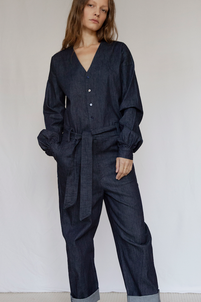 Marshes Organic Denim Jumpsuit in Dark Blue