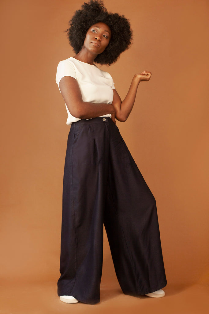 The Addison Ethical Viscose & Rayon Trousers in Navy