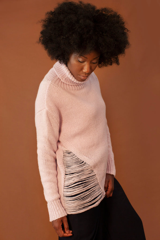 The New Bohemian Ethical Alpaca & Merino Wool Sweater in Pink