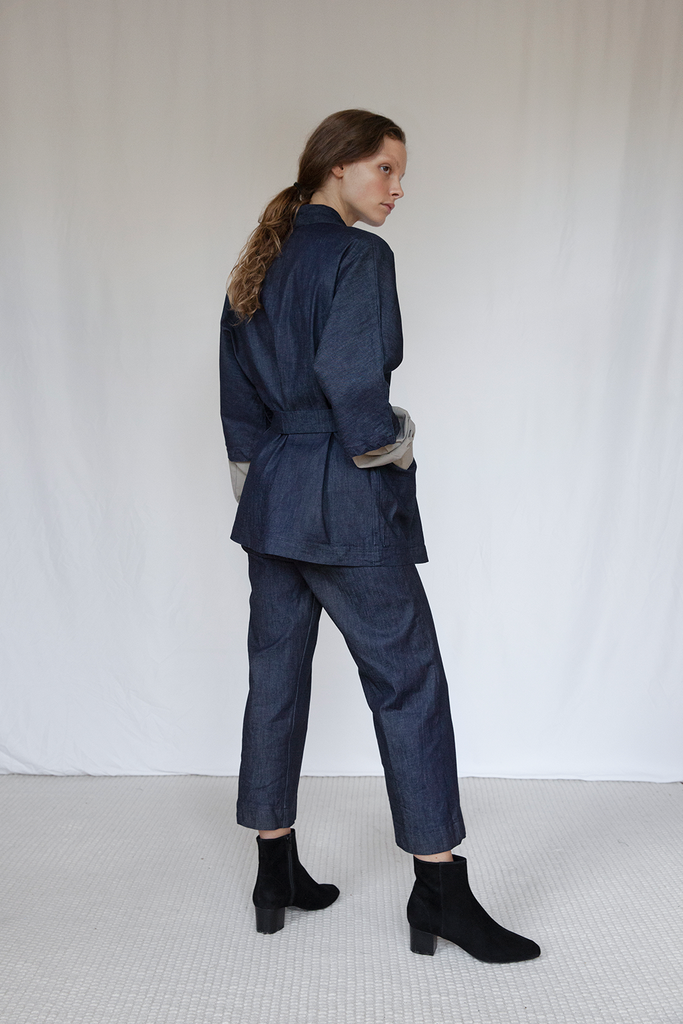 Marshes Organic Denim Trousers in Dark Blue
