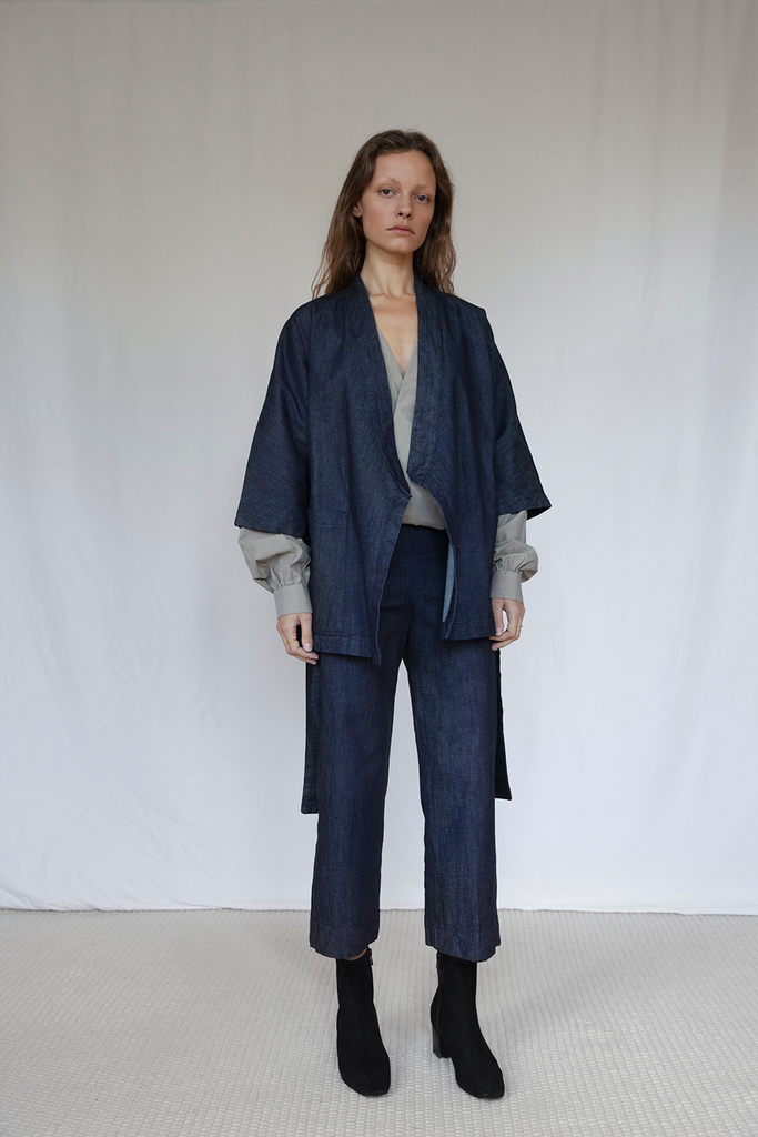 Marshes Organic Denim Suit in Dark Blue