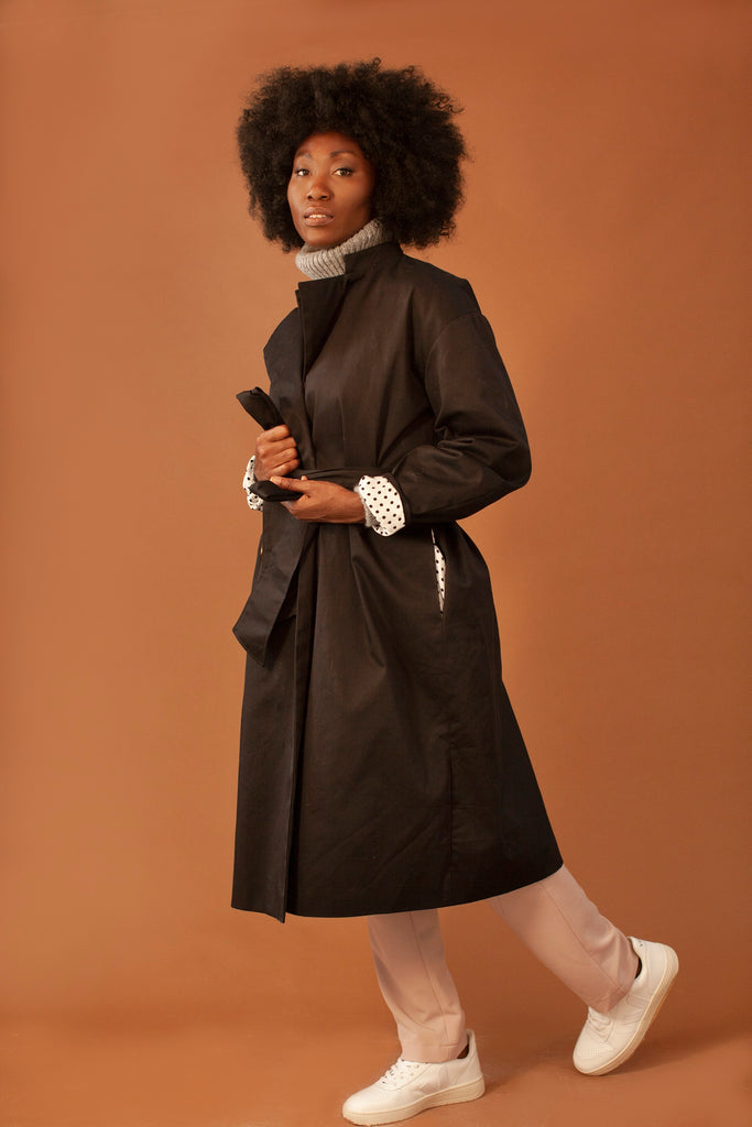 The New Yasmin Organic Cotton Trench Coat in Black