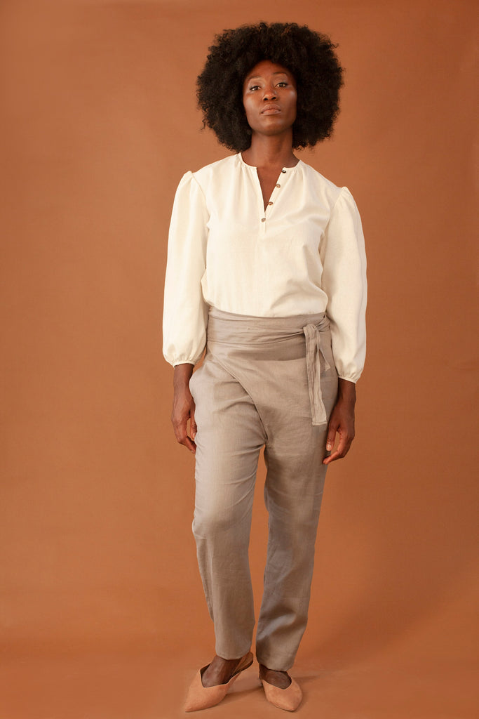 Winona Ethical Raw Silk Blouse in White