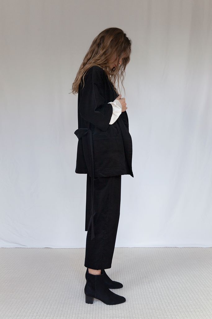 Bloomsbury Organic Velvet Corduroy Trousers in Black