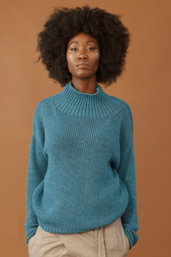 The Azure Ethical Alpaca & Wool & Acrilic Sweater in Blue