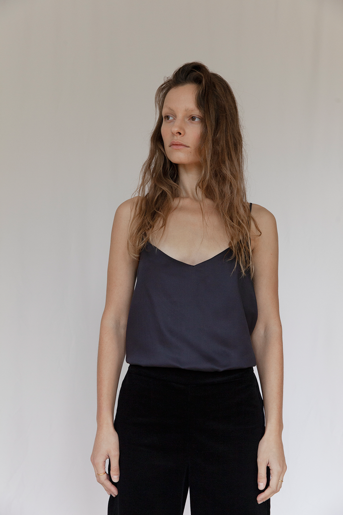 "V"" Organic Bamboo Silk Top in Black"