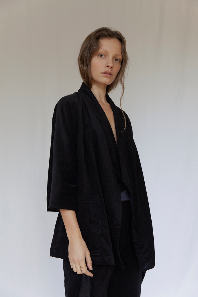 Bloomsbury Organic Velvet Corduroy Jacket in Black