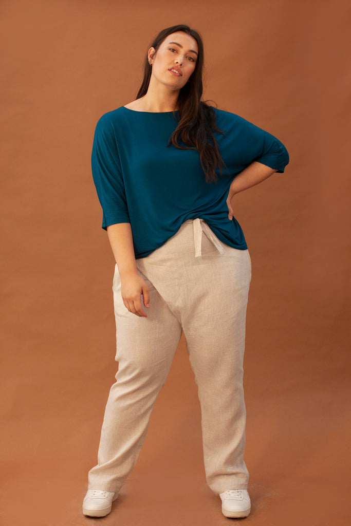 Tea Ethical Wool & Viscose Blouse in Blue
