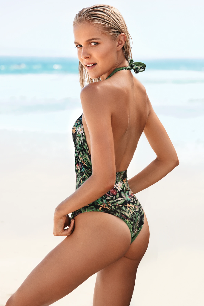 Manhattan Biodegradable Reversible Swimsuit in Flora & Green