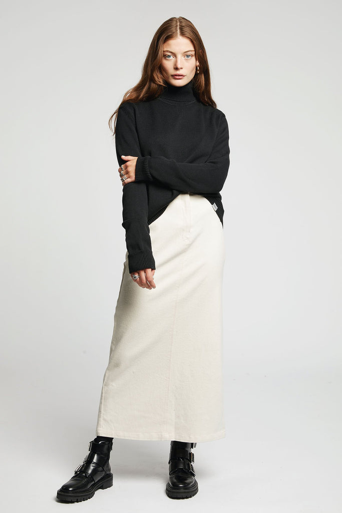Moonlight Organic Cotton Midi Skirt in Warm Sand