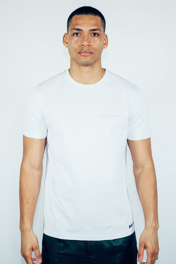 Recycled Cotton Embroidery Men's T-shirt in White