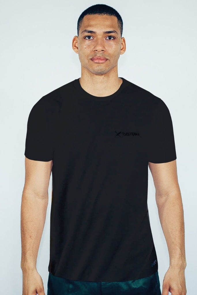 Recycled Cotton Embroidery Men's T-shirt in Black