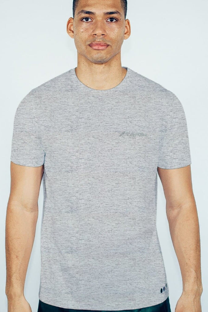 Recycled Cotton Embroidery Men's T-shirt in Gray