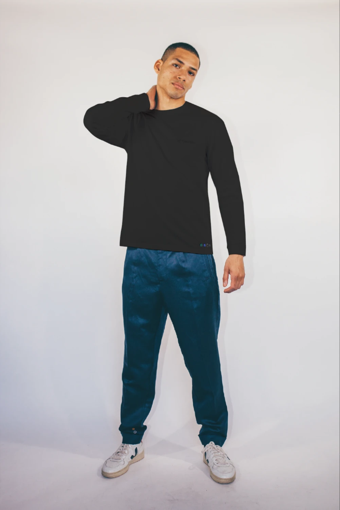Recycled Cotton Embroidery Men's Blouse in Black