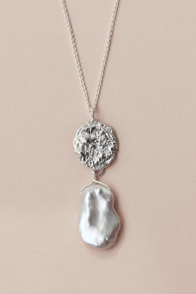 Natural Moon Pearl Recycled Sterling Silver Necklace
