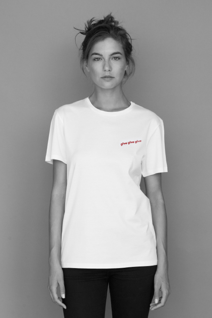 Unisex Organic Cotton Red Embroidery T-shirt in White