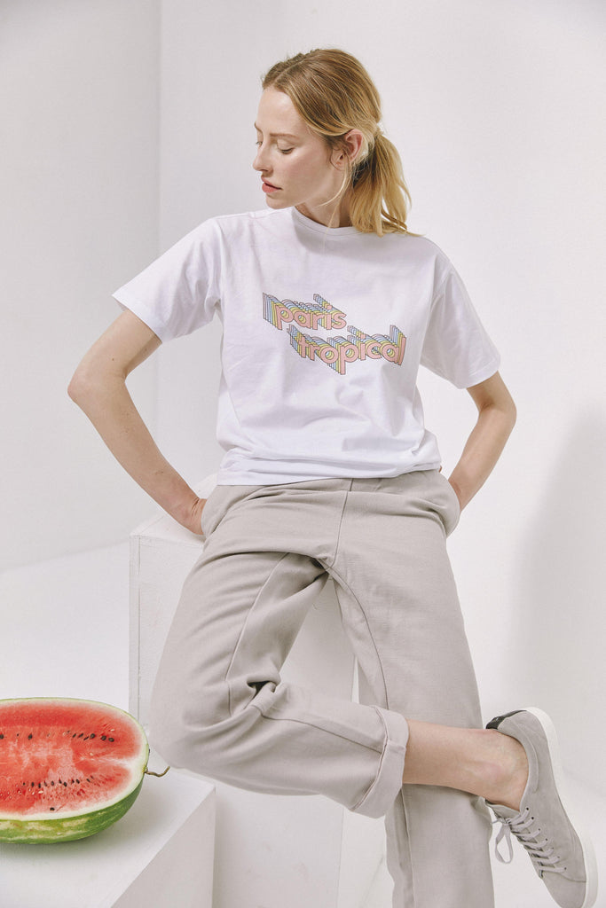 sustainable-Paris Tropical Print Organic Cotton T-shirt in White-noyoco-Kool and Konscious