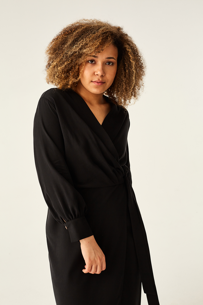 07/02 Natural TENCEL™ Lyocell Dress in Black