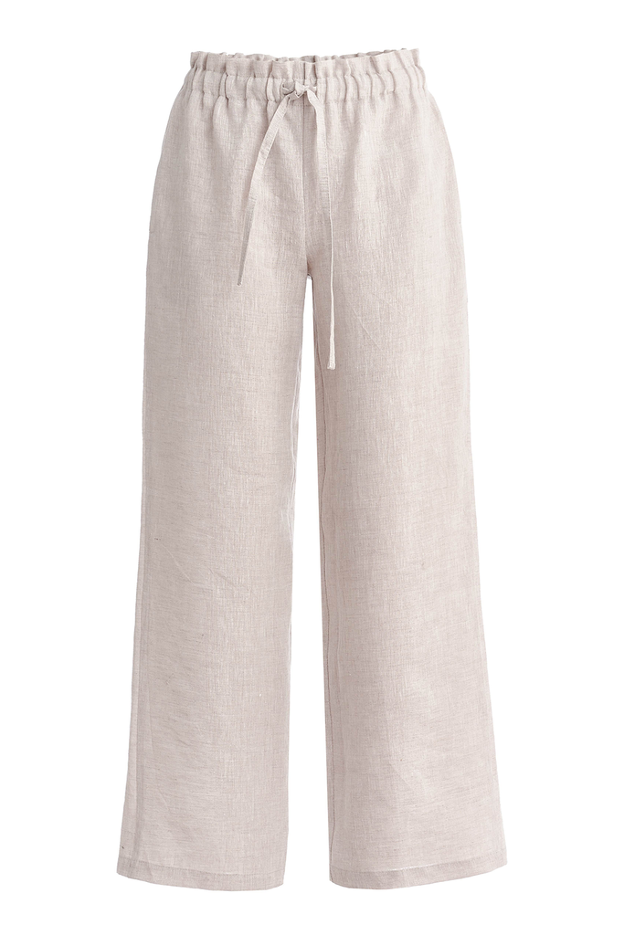 Arles Natural Linen Pants in White