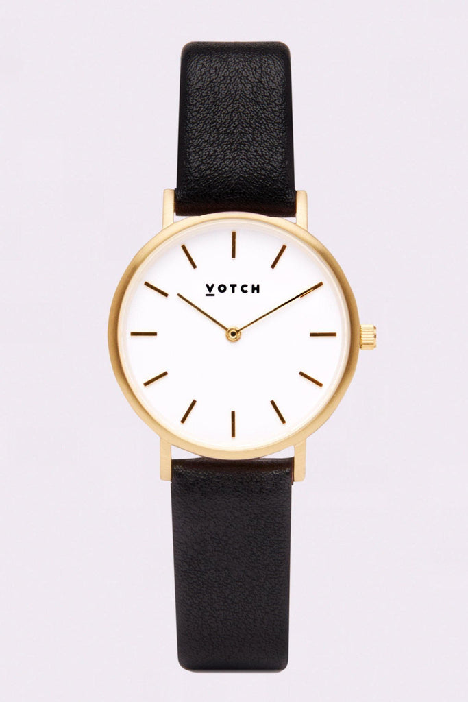 Petite Vegan Leather Watch in White, Gold, Black Strap