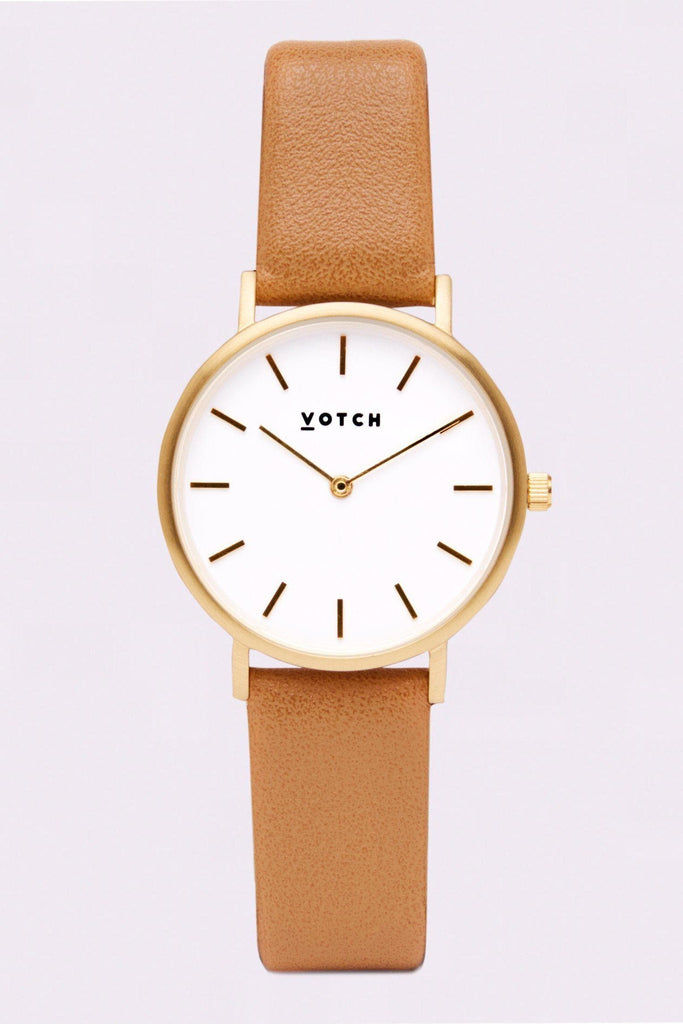 Petite Vegan Leather Watch in White, Gold, Tan Strap