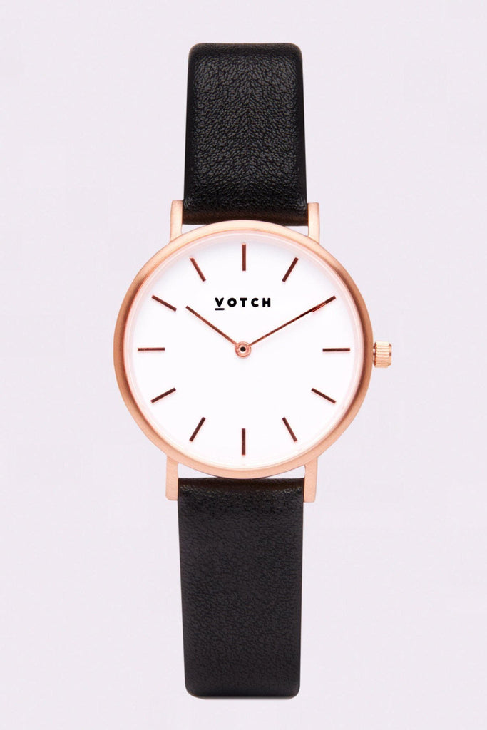 Petite Vegan Leather Watch in White, Rose Gold, Black Strap