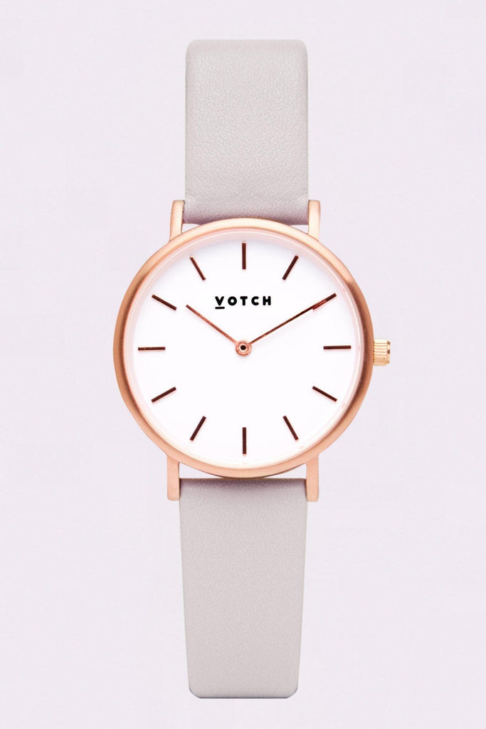 Petite Vegan Leather Watch in White, Rose Gold, Light Gray Strap